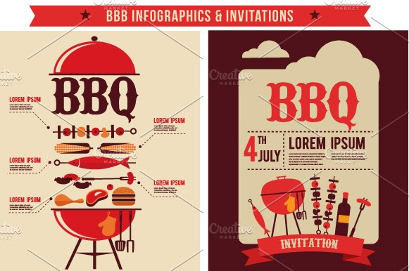 bbq infographics party invitations illustrations creative market