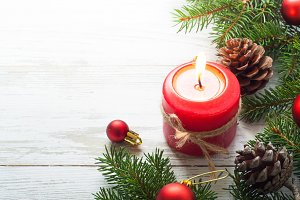 Christmas gift, candle and decorations