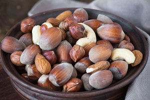 Selection of nuts - Hazelnuts, almonds, cashew.