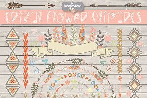 VECTOR Tribal flower clipart/pattern