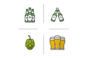Beer. 4 icons set. Vector