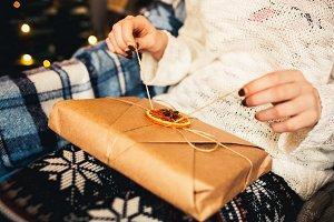 Girl opens vintage gift