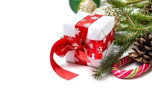 Gift box with cristmas decoration