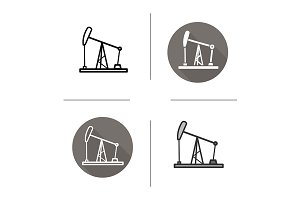 Oil derrick. 4 icons. Vector