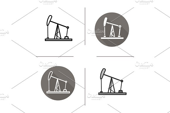 Oil derrick. 4 icons. Vector - Icons