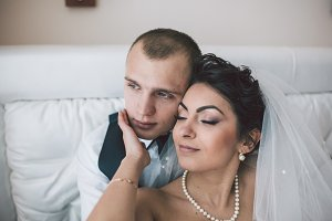 Beautiful European bridal couple