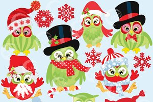 Christmas Night Owls Clipart, 569