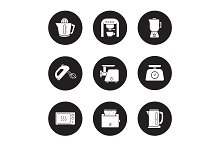 Kitchen electronics. 9 icons. Vector