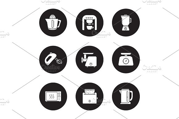 Kitchen electronics. 9 icons. Vector - Icons