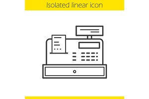 Cash register linear icon. Vector