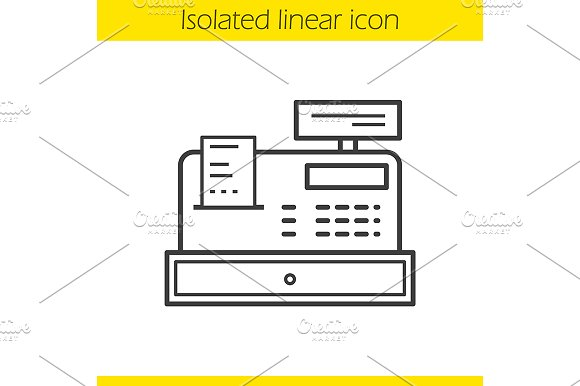 Cash register linear icon. Vector - Icons