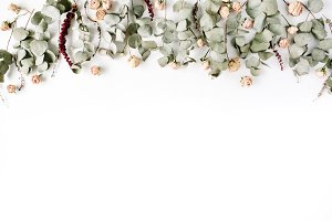 Eucalyptus and roses