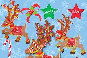 Christmas Reindeer Clipart 3, 385