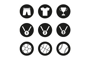 Sport equipment. 9 icons. Vector