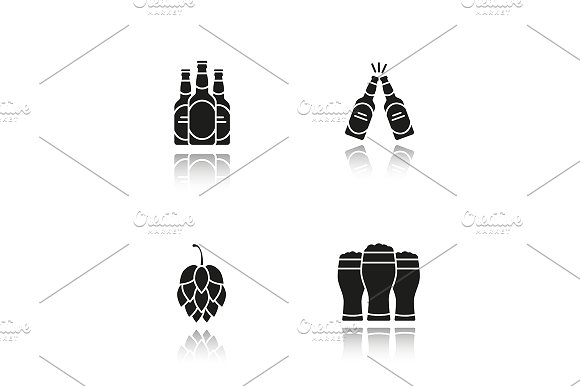 Beer. 4 icons. Vector - Icons