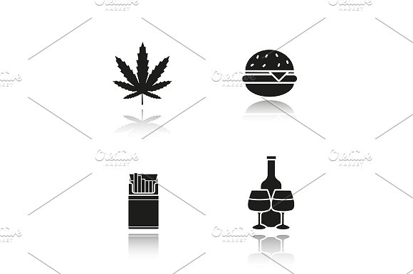 Bad habits. 4 icons. Vector - Icons