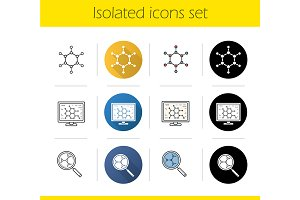 Science lab. 12 icons set. Vector