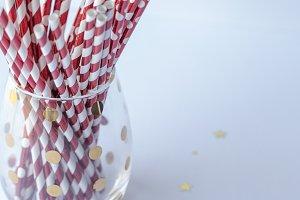 RedStriped Straws in Gold Dot Glass