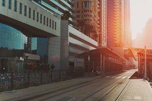 Empty streets, railroad of Dubai