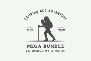 Camping and adventure emblems