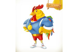 Rooster. Champion athlete. 3d vector