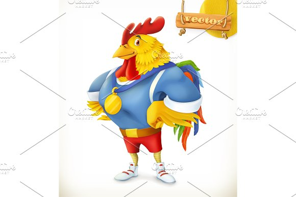 Rooster. Champion athlete. 3d vector - Illustrations