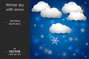 Winter sky with snow, Vector