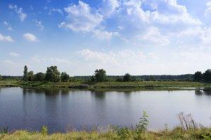 Idyllic riverbank landscape