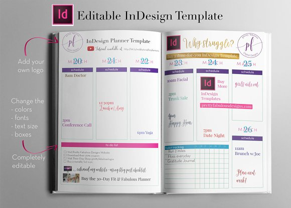 Weekly Calendar | InDesign Template ~ Stationery Templates ...