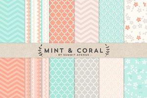 Mint & Coral Digital Paper Patterns