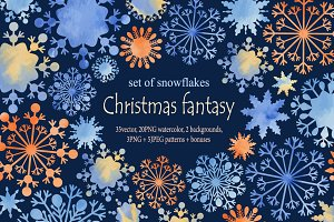 Christmas fantasy. Set snowflakes2