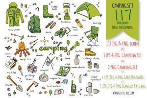117 Hand drawn Camping icons!