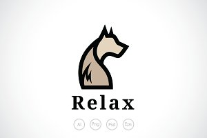 Relax Dog Grooming Logo Template