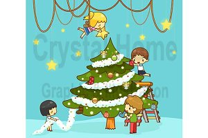 Cartoon kids decorate Christmas tree
