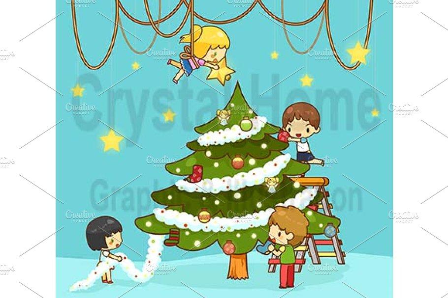 Cartoon Kids Decorate Christmas Tree Illustrations Creative Market