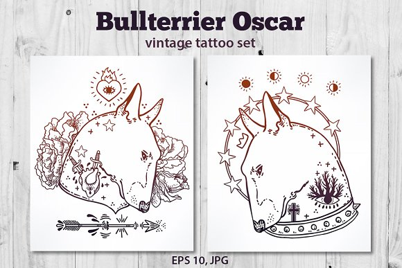Bullterrier Oscar Vintage Tattoo Set