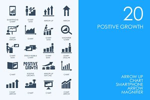 Positive growth icons