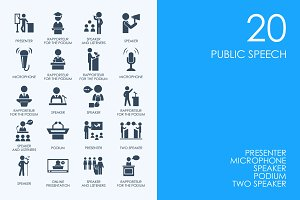 Public speech icons