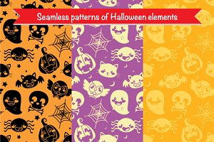 Three Seamless Halloween Patterns