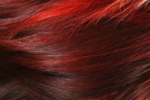 red dyed female hair