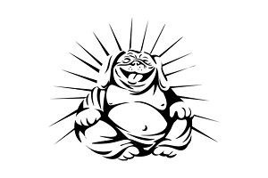 Laughing Bulldog Buddha Sitting