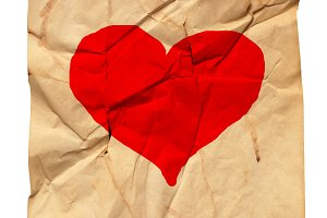 paper with valentine heart