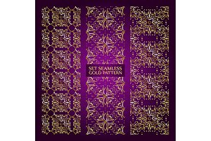 Set of 3 golden lace pattern purple