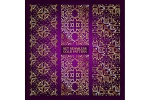 Set 3 golden lace pattern purple-2