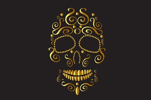 Skull icon ornament gold
