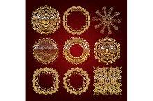 Gold mandala set. Red version