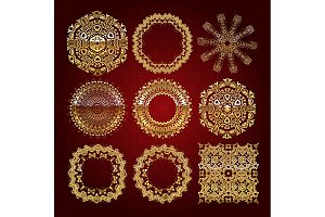 Gold mandala set. Red version