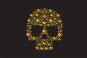 Skull punisher gold vector