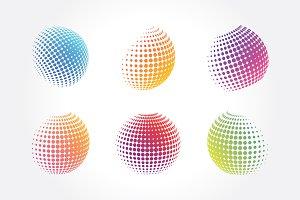 Stylized Globe with Dots Pixels