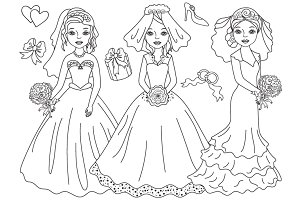 Vector Black & White Wedding Brides